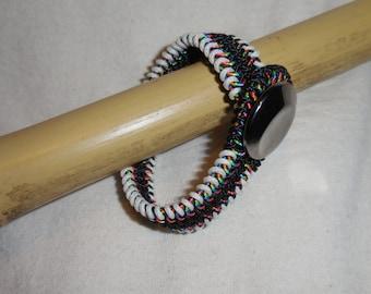 Rainbow Mesh Bracelet with Glow-in-the-Dark Edges