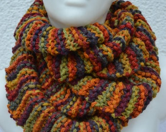Loop tube scarf knitted colorful heather for women and children