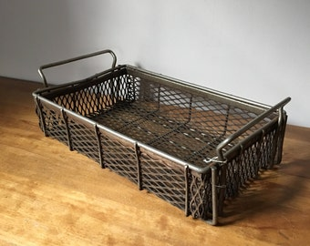 Vintage industrial wire dipping baskets - perfect for storage - herbs and garden