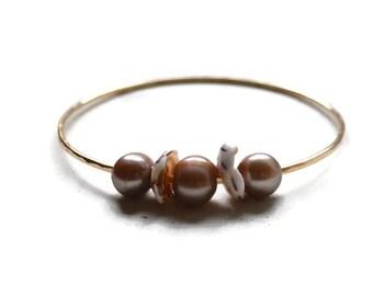 Pearl and Puka Shell Bangle, Gold Pearl and Puka Shell Bracelet, Triple Pearl and Shell Bangle