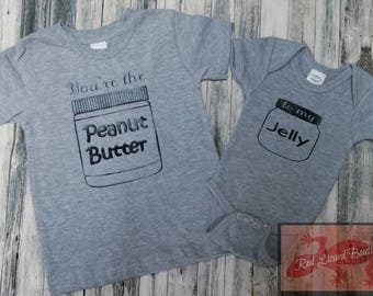 Peanut Butter & Jelly Sibling/Friend/Cousin Shirts