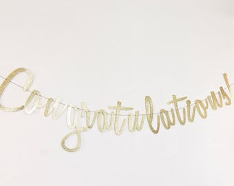 Congratulations Banner - Gold Script Banner - Congratulations Sign - Graduation Decor - Cursive Banner - Wedding Decor - Retirement Banner