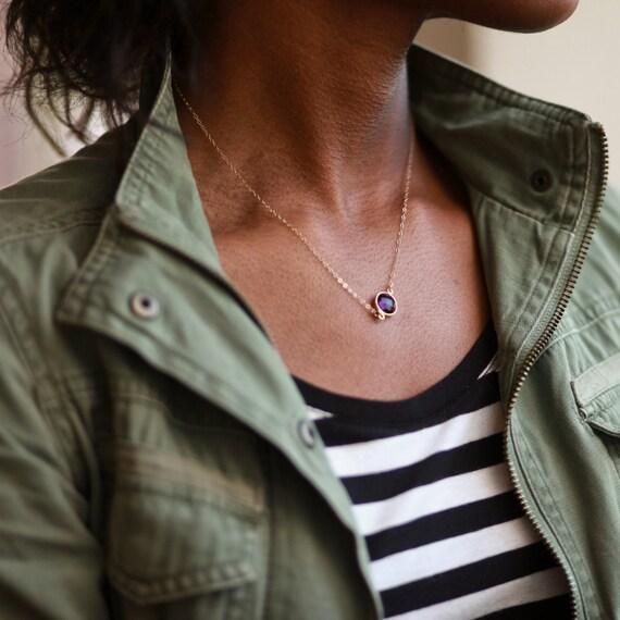 Amethyst Necklace, Amethyst Pendant, February Birthstone Necklace, Amethyst Charm, Delicate Necklace, Dainty Necklace,  Tiny Necklace