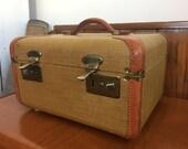Train case luggage cosmetic case luggage tweed