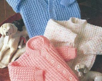 "Baby Knitting Pattern Cardigans & Sweater 16-18-20-22"" pdf"
