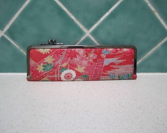 Vintage Small Kimono Glasses Case - Spectacle - Red - Japanese