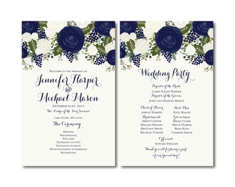 Vintage Wedding Programs, Fall Wedding, Vintage Floral, Floral Wedding, Vintage Wedding, Wedding Programs, Ceremony Order of Service #CL259