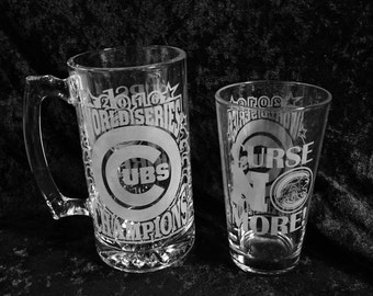 Chicago Cubs World Series Champions Chicago Cubs Champions Mug or pint handmade etched glass