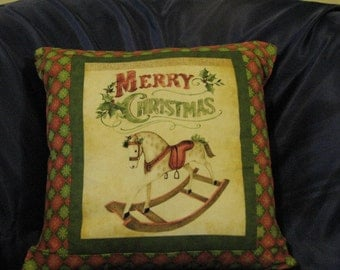 Christmas themed 12 inch square pillow