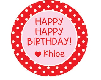 Birthday Stickers, Birthday Favors, Red polka Dot Stickers Personalized, Kids Favor Tags, Gift Stickers for Kids, Birthday Labels,