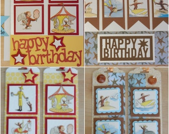 Card or tags, handmade Birthday Repurposed with Curious George stickers for children