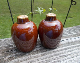 Brown Drip Salt and Pepper Shakers Hull or McCoy Pottery