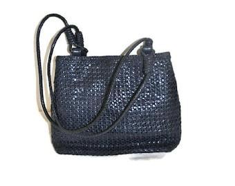 Woven Leather Handbag // Vintage Blue Handbag // Over Shoulder Casual Bag