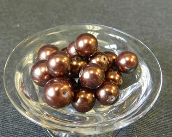 Set of 28 Chocolate Brown Faux Glass Pearl Beads - 10mm - CLOSEOUT - As Is