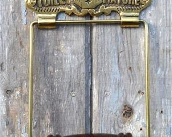 Antique large brass Notting Hill toilet roll holder wall mounted SLBNH