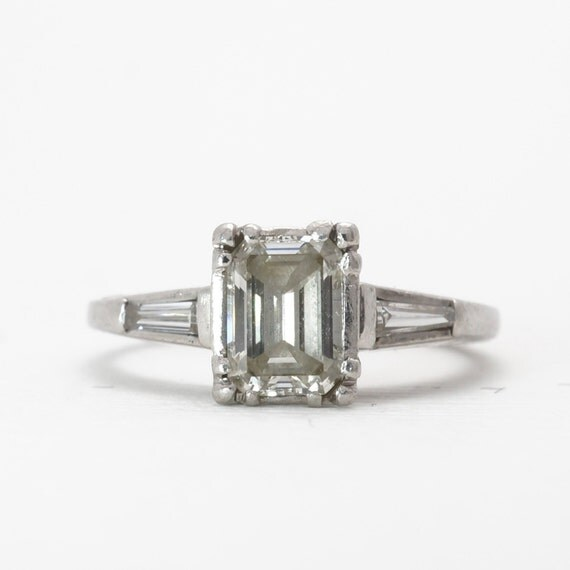 vintage emerald cut platinum engagement ring by brocktongems