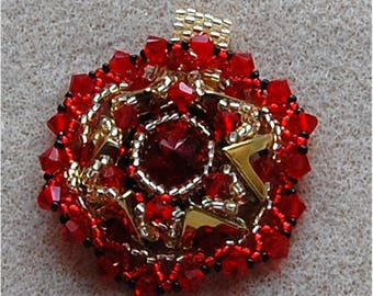 AVA Pendant Tutorial, Using a 14mm Rivoli, Seed Beads, and Crystals
