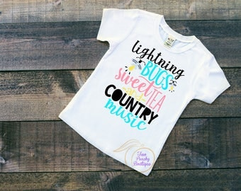 Lightning Bugs/ Sweet Tea/ Country Music/ Girls shirt/ Country shirt/ Summer time/ Sweet Tea and Music/ Youth tshirt/ Birthday gift/ Music