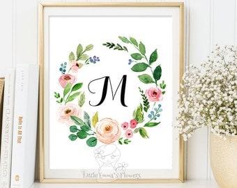 Pink flowers Nursery Letter, Monogram Art, Wall Decor, floral printable, flower calligraphy monogram, modern Initial print art 22