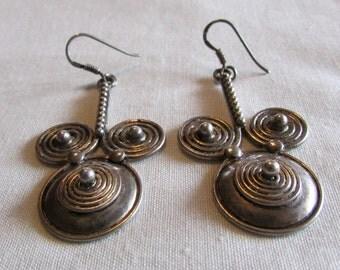 Sterling Silver Coil Design Wire Dangle Earrings
