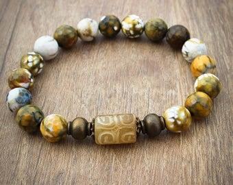 Yellow Tribal Bead Bracelet