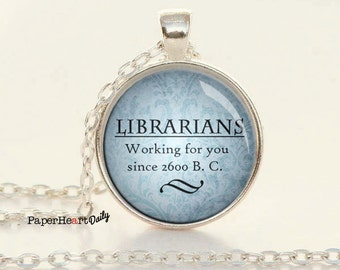 Librarian Necklace - Librarian Gift - Library Jewelry - Reader - Librarian Jewelry - Bibliophile - Bookish - Reader Jewelry (B2046)