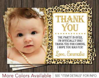 Cheetah Birthday Thank You Card - Safari, Leopard, First Birthday Thank You Card