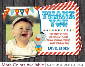 Circus Thank You Card - Personalized Carnival Thank You Cards
