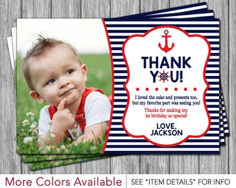 Nautical Thank You Card - Nautical Birthday Thank You Cards