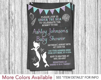 Mermaid Baby Shower Invitation - Under the Sea Baby Sprinkle Invite