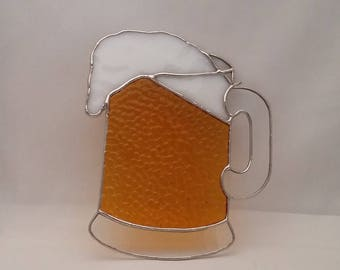 Beer Mug Stained Glass Suncatcher - Fathers Day Gift - Man Cave - Bar Decor
