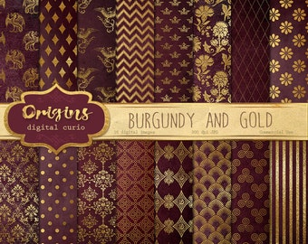 Burgundy and Gold Digital Paper - Red and Gold, Wedding Digital Paper, Purple Gold Scrapbook Paper Pack Instant Download Backgrounds
