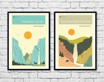 2 Art-Posters 30 x 40 cm - Yosemite and Yellowstone  - by Jazzberry Blue