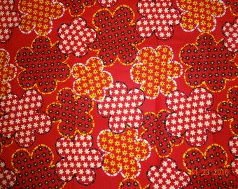 "3 Yards Vintage Retro Large Floral Print - Red Yellow Black & White - 44"" wide"