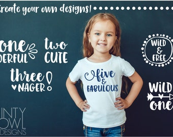 SVG Cut File - Birthday Quotes - Wild One - I'm Two Cute - Cricut - Silhouette - Wild & Free - Create Your Own Design - Cutting Files