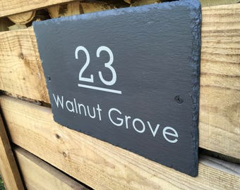 Large Slate House/Door/Gate Sign 300mm x 200mm with screws by Scottish Slate Gift
