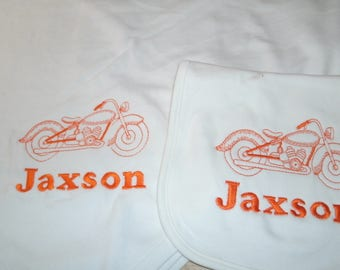 Motorcycle Personalized Infant Toddler Baby Girl Blanket & Bib Set  Any Color