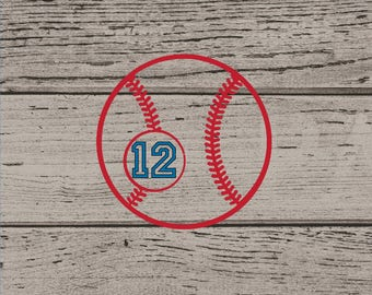 Baseball Vinyl Decal, Baseball Vinyl, Baseball Vinyl Sticker, Baseball Sticker, Baseball Decal, Baseball with Number, Baseball