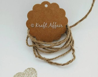 25 Round Scalloped Kraft Tags, Gift Tags, Hang Tags, Product Tags - 6cm in diameter