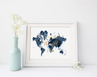 Map of the World Watercolour print