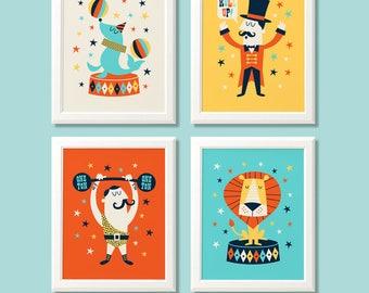 Circus nursery prints, circus print set, circus print set, circus wall art, circus nursery wall art, nursery decor, kids bedroom, kids decor