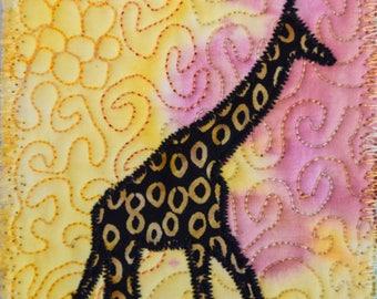 Fiber Art, Wall Hanging, Art Quilt, fiber art, Miniature, home decor, abstract art quilt, wall art quilt, African art, giraffe, giraffe art