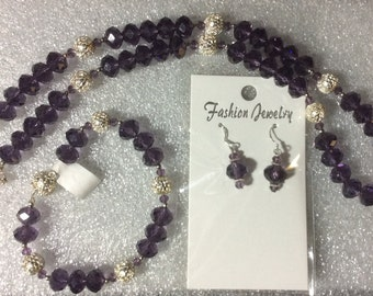 Purple Crystals and Silver Necklace, Bracelet, Earrings Set