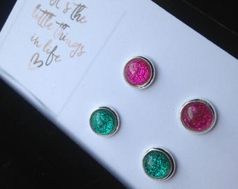 8mm Sweet and Sour Combo Stud Earrings Glitter Pink and Green Cabochons