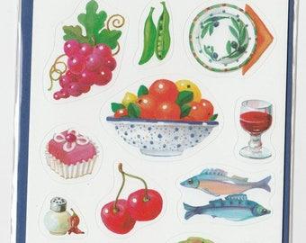 Vintage Sealed Food Fruit Dessert 3 Mini Stickers Sheet
