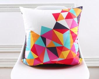 Decorative pillow cover/ colourful triangle cushion cover/  Geometric  pillow throw/Euro pillow sham