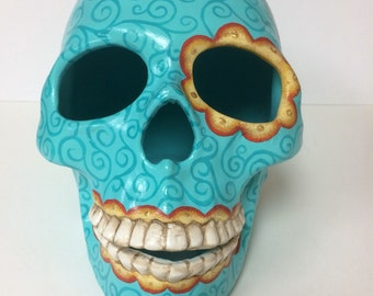Day of the Dead skull, skeleton, ceramics, calavera, catrina, handpainted, skeleton