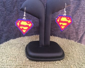 Superman- beaded earrings