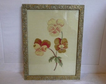 """Pansies Picture Vintage Frame with Embroidered Fabric 10 1/2"""" x 8"""""""