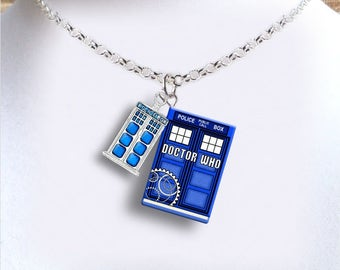 Doctor Who with Police Box Charm - Miniature Book Necklace